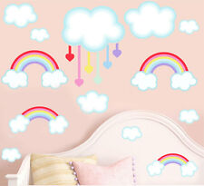 Rainbows and Clouds Pack of 14 Wall Art Stickers Transfer Bedroom Decal Mural