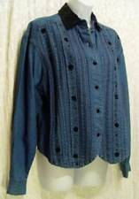 Classic VINTAGE Black Velvet EMBROIDERED PinTucked CASCADE BLUES Denim Blouse! S