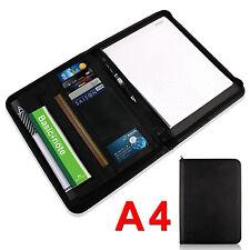 A4 Leather Folder Organiser Business Zipped Portfolio Case Conference File