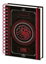 Juego De Tronos Targaryen Fire & sangre A5 Tapa dura Cuaderno Nuevo Forrado oficial