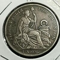 1894 TF PERU SILVER ONE SOL  CROWN COIN