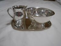 Paul Revere Silver-plated Cream and Sugar with Tray Vintage Reproduction