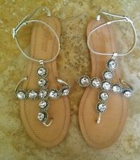 Heiress bling sparkle rhinestone leather T sandals, silver, 9