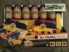 Nip X-Shot Dual Double Pack Dart/Disc Blasters 2-Guns 6-Cans 8-Darts 12-Disc New