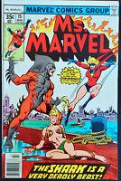 Ms. Marvel #15 VF+ Marvel Comics Shark 1978 Bronze Age