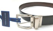NEW men's TOMMY HILFIGER TH reversible silver buckle black belt M 34