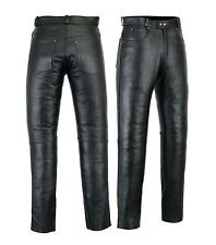 Mens Leather Jeans Pants trouser Premium Quality Cow Plain Leather Black