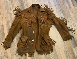 Vintage Handmade Fringe Buckskin Leather Mountain Man Western Coat Jacket