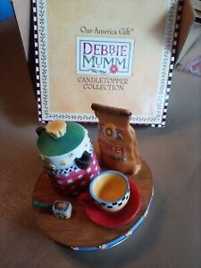 Debbie Mumm candle topper Morning Coffee Pots bnib