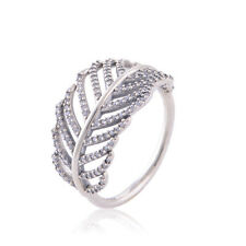 Solid Sterling Silver Cubic Zirconia FEATHER Statement Dress Ring Band Size 6