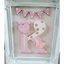 Personalised shabby chic wooden bunting letter/name sign bedroom frame