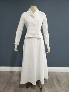 White embroidered eyelet 2 piece maxi skirt suit set sz 4/6