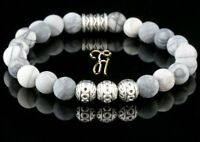 Jaspis Armband Bracelet Perlenarmband Silber Beads Buddha weiß grau matt 8mm