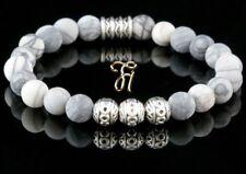Jaspe Bracelet de Perles en Argent Buddha Blanc Gris Mat 8mm