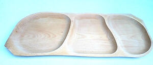 """Wooden Serving tray with 3 sections ,large Barbecue tray ,untreated natural 25"""""""