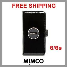 Mimco iPhone 6 6s Black Patent Leather Magnetic Flip Case Wallet Cover