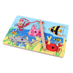 New Baby Educational 15 PCS Toy Fish Wooden Magnetic Fishing Toy Set Fish Game