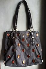 PRADA VITELLO DAINO RAME RHINESTONE SHOULDER BAG BR3107-BROWN