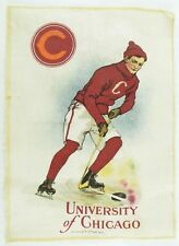 C.1910 Chicago University College Hockey Sports Tobacco Silk Vintage Original