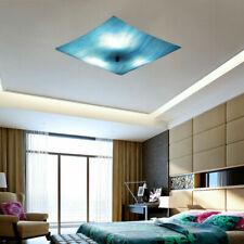 Tiffany Blue Glass Square Shade Ceiling Light Semi Flush Mount Lamp 3 Lights