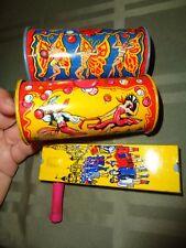Vintage Noise maker lot of 3 Kirchnof tin metal wood handle Fairies dancers