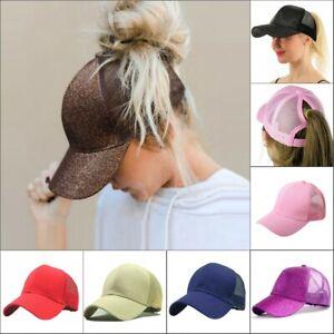 Ladies Mens Ponytail Baseball Cap Snapback Summer Women Sun Shade Sport Mesh Hat