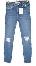 Topshop JAMIE SUPER SKINNY Blue Ripped High Rise Stretch Jeans Size 10 W28 L30