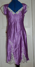 NEW sz 12 Boutique Deep lilac100% Silk Satin Dress with Cream lace inserts Beads