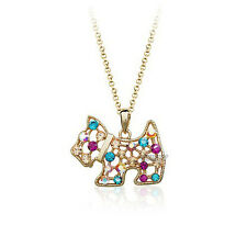 18K ROSEGOLD PLATED GENUINE MULTI-COLOURED CUBIC ZIRCONIA SCOTTIE DOG NECKLACE