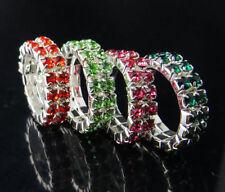 Lots 12Pcs Stretchy 2Rows Mixed Colors Crystal Rhinestone Rings
