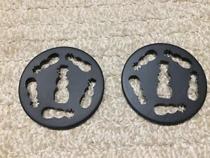 TWO BLACK Snowman Metal Candle Topper Set,3 1/2 INCH Diameter,NEW,Keeper,Design