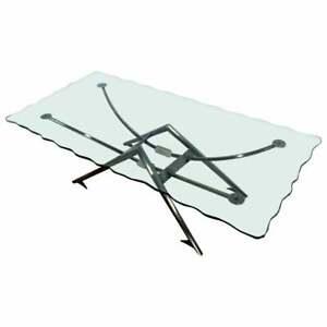 Contemporary Modern Gunmetal Scalloped Edge Glass Coffee Table Memphis Style 80s