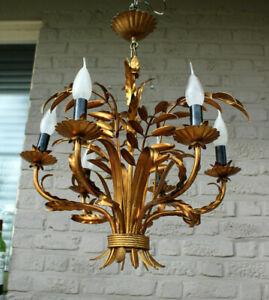 Hollywood regengy gold gilt chandelier palm leaf 1960s by Hans kogl 1960s