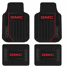 New Black Red Elite Logo Series Front & Rear Rubber Floor Mats for GMC