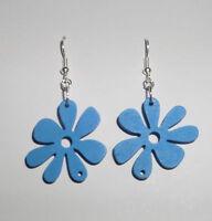 FUNKY BLUE WOOD FLOWER DROP earrings SILVER PLATED RETRO 60'S 70'S FLOWER POWER