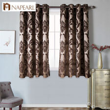 NAPEARL 1 Panel Short Semi-blackout Jacquard Curtains for Kitchen Grommet Rings
