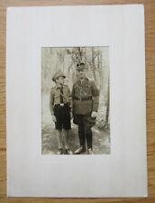 Altes Portrait Foto Vater und Sohn in Uniform / Schirmmütze / Schaftmütze