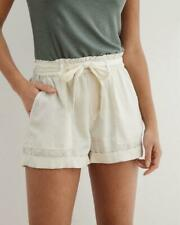 NWT Aerie American Eagle Cream White Camp Paperbag Tie Shorts Large