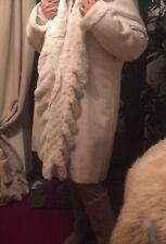 dennis basso White Faux Fur Size Uk 16/18 Long Coat Womens Ladies