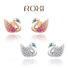1 pair luxury austrian crystal gold plated animal swan earrings