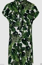 Topshop Palm Print Cold Shoulder Shirt Dress - Size 8