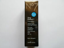 No7 Stay Perfect  Foundation LATTE 30ml New/Boxed