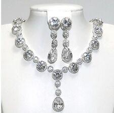 & Necklace Cz Bridal Set Tear Drop Dangle Cubic Zirconia Earring