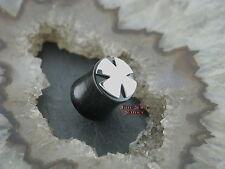 Horn Plug Tunnel Eisernes Kreuz EK Oldschool Piercing für gedehntes Ohrloch 18MM
