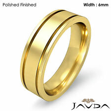 Men Wedding Solid Band 18k Yellow Gold Flat Fit Plain Ring 6mm 9.8gm Size 9-9.75