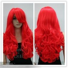 Bright red long curly cosplay full wig