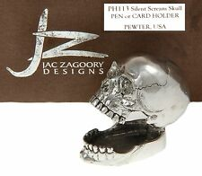 Jac Zagoory #113 / Laugh Out Loud Skull Pen Holder in Pewter / Made in The USA