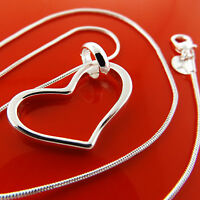 Necklace Chain Real 925 Sterling Silver S/F Ladies Snake Link Heart Pendant