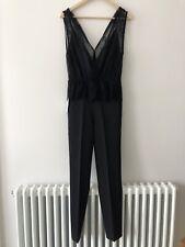 ZARA Black Contrast Lace Combined Jumpsuit Long Playsuit XS