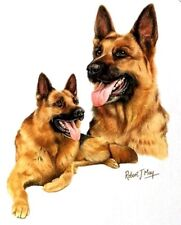 """GERMAN SHEPHERD 2 Dogs Shown on ONE 16"""" Fabric Panel to Sew.Picture is 8"""" x 10"""""""